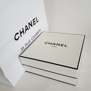 CHANEL White Box With Shopping Bags